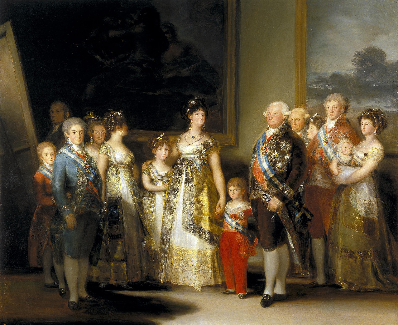 El borbón Carlos IV y su familia en una pintura de Goya